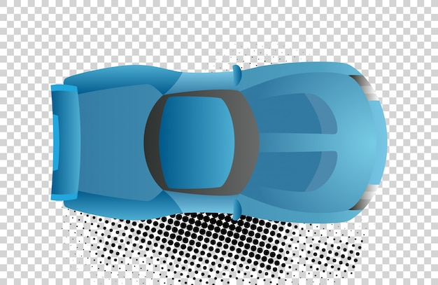 Blue car top view vector illustration