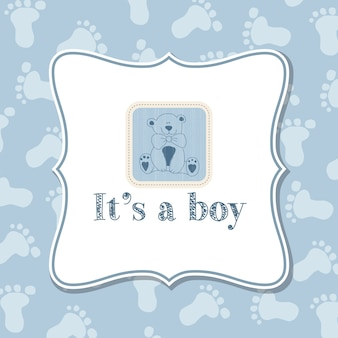 Blue card with a bear for baby shower