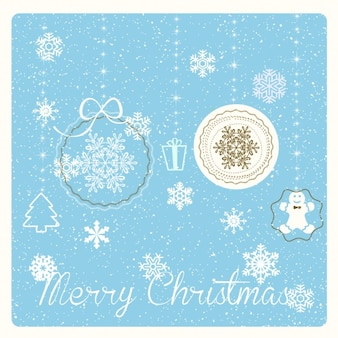 Blue card with christmas items
