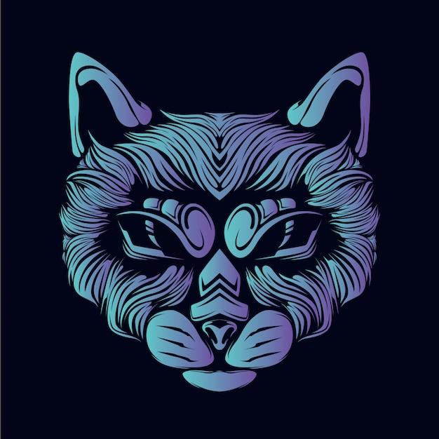 Иллюстрация головы голубой кошки