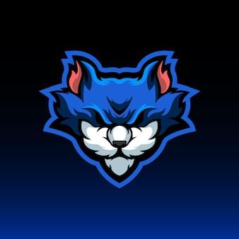 파란 고양이 마스코트 로고