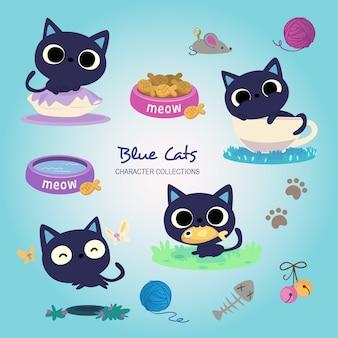 青い猫 Premiumベクター