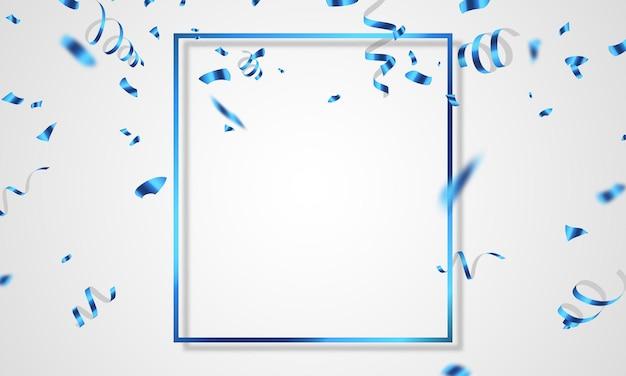 青いお祝いフレームの背景