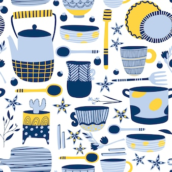 Blue ceramics seamless pattern