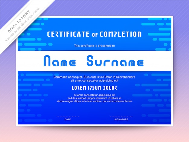 Blue certificate of completion template. programming courses diploma.