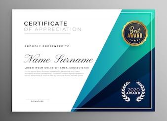 Синий сертификат признательности шаблона дизайна