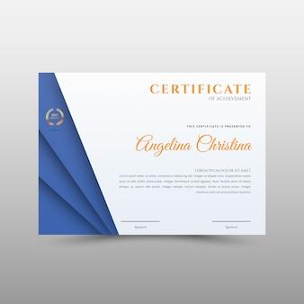 Blue certificate template in for achievement