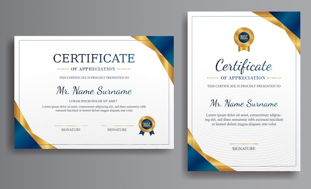 Blue certificate template with luxury color and badges