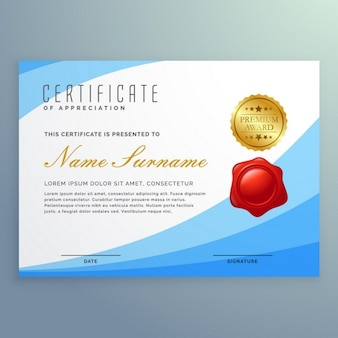 Blue certificate with a red stamp