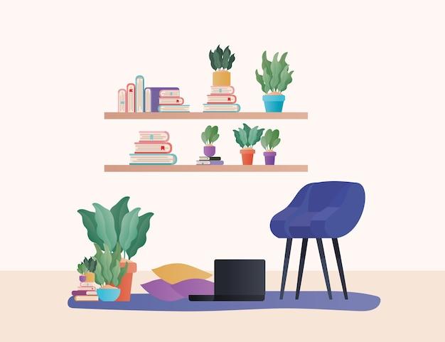 リビングルームのデザイン、家の装飾、インテリア、リビング、アパート、住宅をテーマにしたラップトップが付いている青い椅子