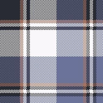 Blue check pixel tartan seamless fabric texture