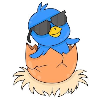 파란 병아리는 안경, 벡터 일러스트레이션 아트를 쓴 알에서 태어납니다. 낙서 아이콘 이미지 귀엽다.