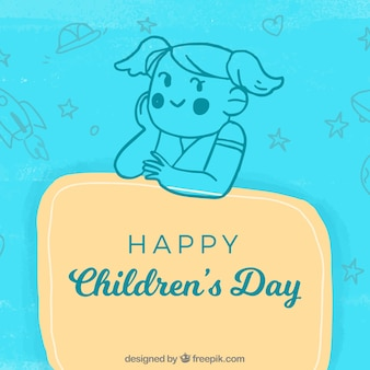 Blue childrens day vector