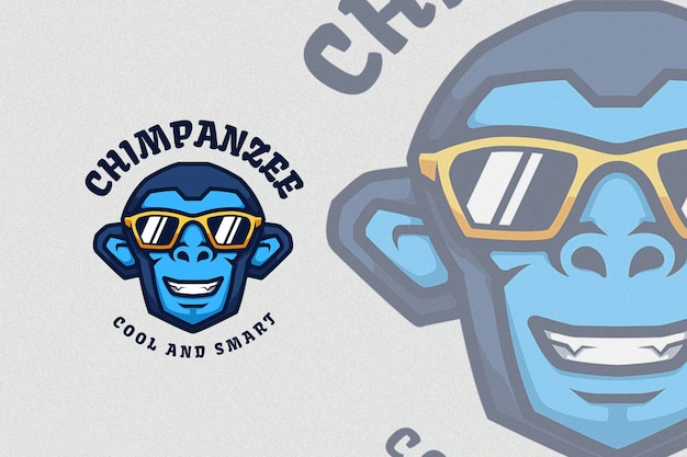 Blue chimpanzee with cool sunglasses illustration