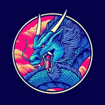 Blue chinese dragon  illustration