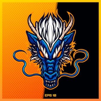 チームバッジ、エンブレム、喉の渇きの印刷のためのモダンなイラストのコンセプトで青い中国のeスポーツとスポーツマスコットのロゴデザイン。ゴールドの背景に青い中国のドラゴンのイラスト。図