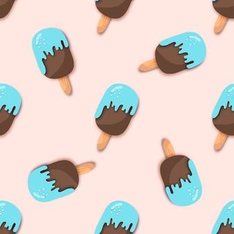 ペーパーカットスタイルのブルーチョコレートアイスクリームシームレスパターン。折り紙とろけるアイスクリーム。