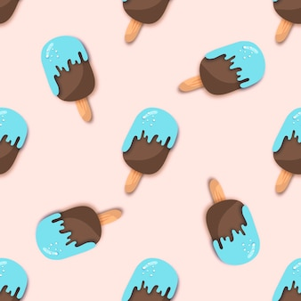Blue chocolate ice-cream seamless pattern in paper cut style. origami melting ice cream.