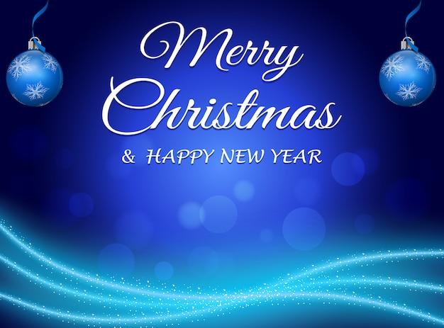 装飾品と青のクリスマスの抽象的な背景。