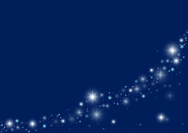 Синий новогодний фон с волной волшебных сверкающих звезд