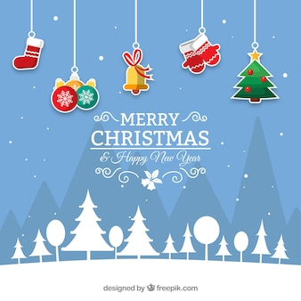 Blue christmas background with hanging decoration Free Vector
