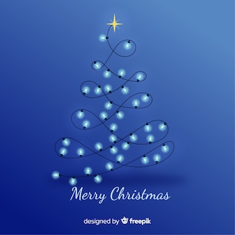 Blue christmas background with light bulb tree