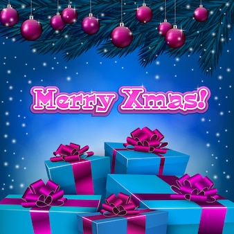 Blue christmas background with present boxes