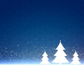 Sfondo blu di natale con tre alberi di design