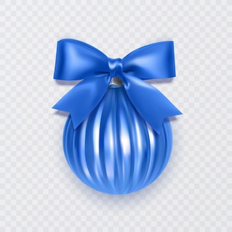 白い背景で隔離の弓の新年の装飾と青いクリスマスボール
