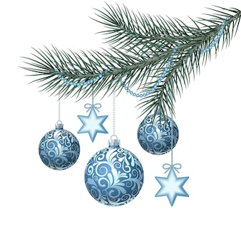 Blue christmas balls on green spruce branch.  illustration