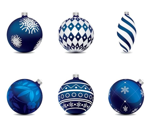 Blue christmas balls set on isolated background. vector design element