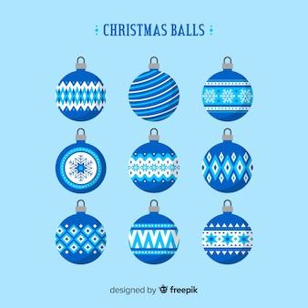 Blue christmas balls set Free Vector
