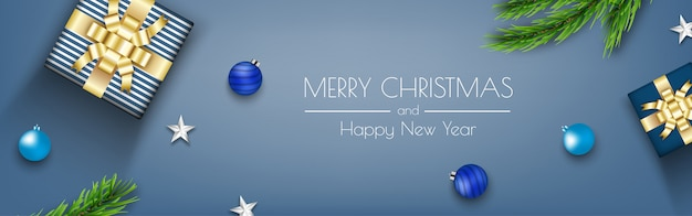 Blue christmas banner with gift boxes