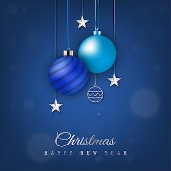 Blue christmas banner with hanging christmas ball