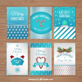 Blue christmas card collection