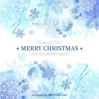 Синий рождественская открытка в стиле акварели
