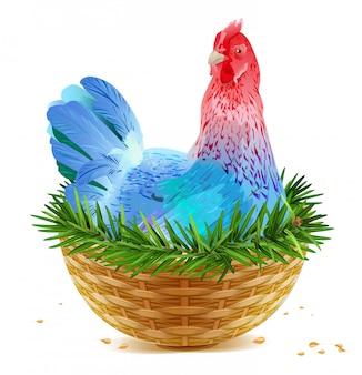 Синяя рождественская курица-несушка сидит в корзинке на еловой ветке