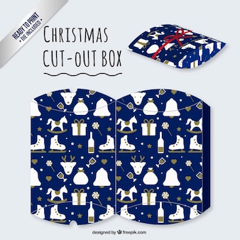 Blue christmas cut out box