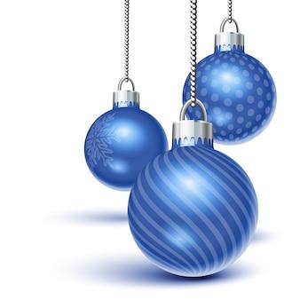 흰색 위에 매달려 블루 크리스마스 장식품