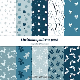 Blue christmas patterns pack