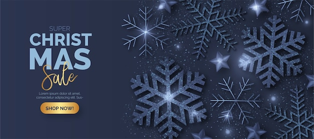 Blue christmas sale banner with shiny snowflakes