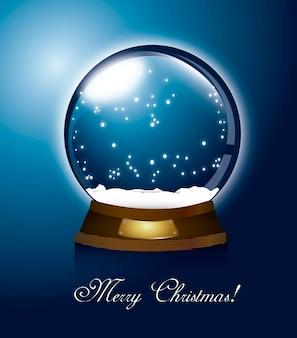 Blue christmas snow globe merry christamas vector illustration