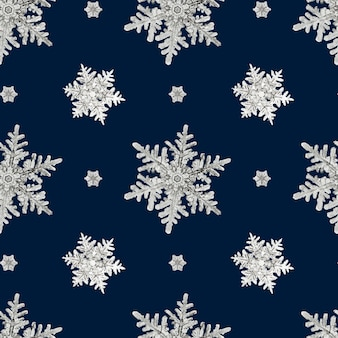 Blue christmas snowflake seamless pattern