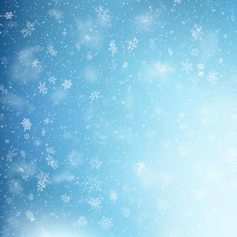 Blue christmas snowflakes background.