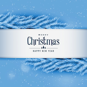Blue christmas tree leaves greeting background