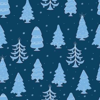 白い装飾で飾られた青いクリスマスツリーシームレスなパターンのクリスマスツリー