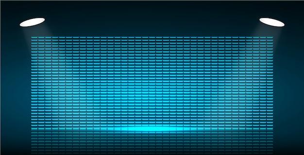 Blue cinema screen for movie presentation.