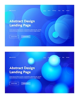 Blue circle abstract shape landing page background set. geometric digital minimal sphere gradient pattern design.