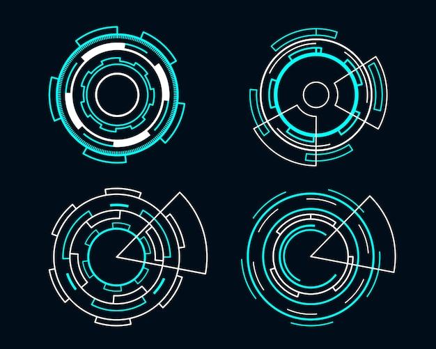 青い円未来的なインターフェースhudセットベクトル技術デザイン。