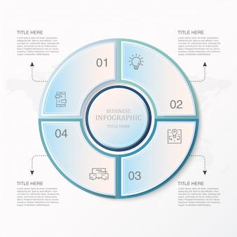 Blue circle infographics and icons for present business concept.